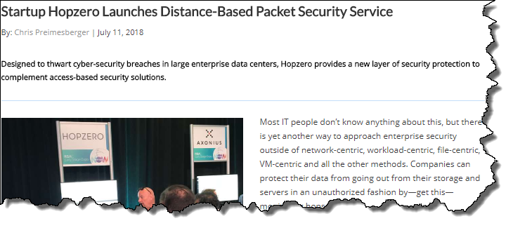 """eWeek: """"HOPZERO and 'Mission Impossible' – Where Data Self-Destructs"""""""